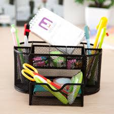 desk pen organizer holder office pencil mesh desktop storage 9