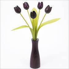 Cool Vase 5 Purple Tulips With 3 Green Leaves With Matching Purple Cool Vase
