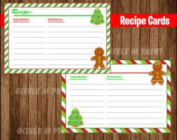 holiday recipe card etsy