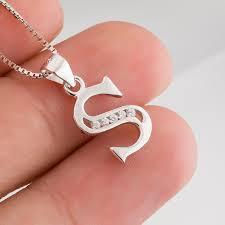 s necklace 925 sterling silver jewelry initials beauty aaa zircon men women