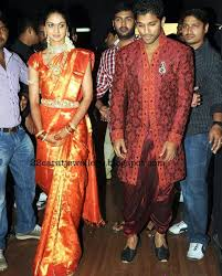 Reception Sarees For Indian Weddings Sneha Reddy In Taditional Bridal Silk Saree At Her Wedding