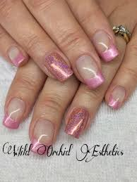 pink metal and holographic pink glitter gel nails nail art