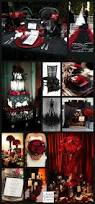 glamorous gothic halloween wedding in black and red unique