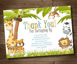 Jungle Birthday Card Thank You Card Animal Jungle Thank You Cards Simple And Unique