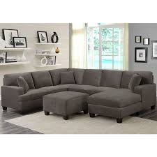 fabric sectional sofas with chaise tia 4 piece grey fabric sectional sofa with 3 accent pillows costco uk