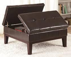 brown vinyl modern button tufted square storage ottoman