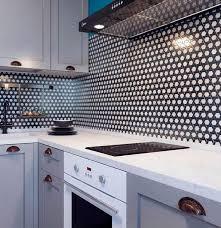 white kitchen cabinets with hexagon backsplash black and white weaved hexagon glass mosaic tile