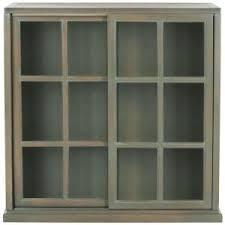 safavieh greg ash grey glass door bookcase amh6570c the home depot