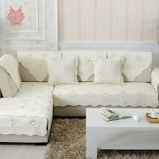 pastoral style cream brown floral embroidery sofa cover quilting