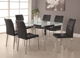 frosted glass top u0026 chrome base modern 7pc dining set
