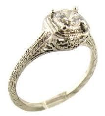 moissanite vintage engagement rings 14k white gold vintage style filigree 50ct moissanite engagement ring