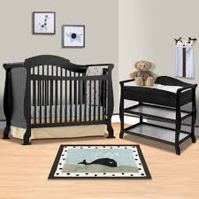 Changing Table And Crib Storkcraft Black Valentia Fixed Side Convertible Crib And Aspen