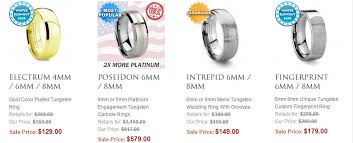 mens wedding bands titanium vs tungsten tungsten vs tungsten carbide