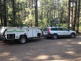 small camper popup trailers towed by small car mtbr com