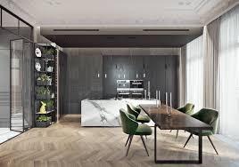 glass chandelier wooden floor grey cabinetry marble kitchen