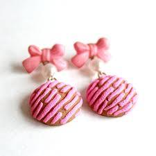 rockabilly earrings pan dulce earrings pink concha charms mexican sweet bread