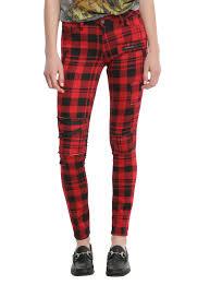 blackheart red u0026 black plaid super skinny pants topic