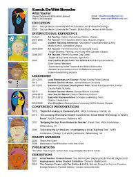 Pre K Teacher Resume Art Education Resume