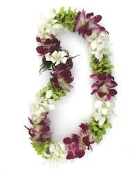 flower leis fresh hawaiian colorful mixed orchid