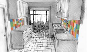 dessiner en perspective une cuisine cuisine en perspective amnagement de la cuisine en l avec ilot