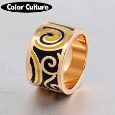 gold art rings images Big rings for women geometric patterns gold stainless steel art jpg