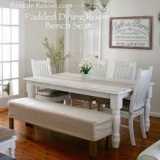 padded dining room bench seat with removable washable drop cloth cover