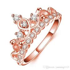 beautiful rose rings images Hot sale korean queen rose gold crown ring women zircon cute jpg
