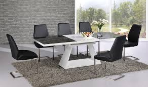 White High Gloss Extending Dining Table With  Chairs Glass Top - Black and white dining table with chairs
