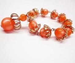 metal bead bracelet images Orange moonglow beaded lucite bracelet vintage 1960s with a dangle JPG
