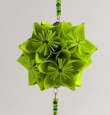 christmas ornament holiday decoration home decor kusudama modular christmas ornament holiday decoration home decor kusudama modular origami handmade in neon fluorescent green on ornament