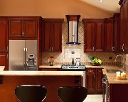 kitchen colors with cherry cabinets black metal oven under cabinet