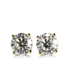 9ct gold earrings diamonique 1ct tw 100 facet solitaire stud earrings 9ct gold qvc uk