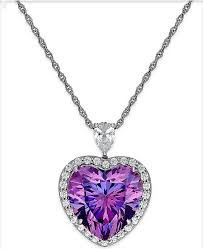 purple heart necklace images Arabella purple and clear swarovski zirconia heart necklace in tif