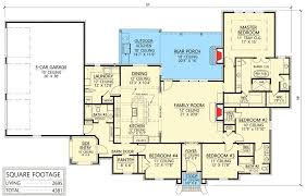 four bedroom acadian house plan with great space for entertaining