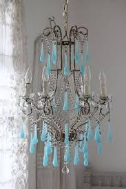blue crystal chandelier light rare vintage italian brass gilded aqua blue opaline birdcage crystal