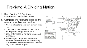 Missouri Compromise Map Activity Do Now November 2 3 Silently Take Your Seat 2 Write Today U0027s