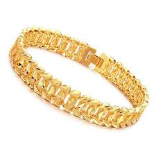 shiny 18k gold plated rhombus metal link chain bracelet