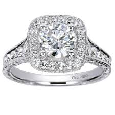 gabriel and co engagement rings white gold 0 85ct gabriel co halo semi mount engagement ring