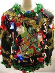 light up ugly christmas sweater santas on tree beaded sweater xl
