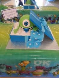 inc baby shower monsters inc baby shower cake square shape blue colored in