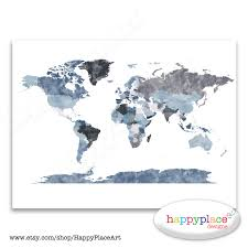 Etsy World Map by Large Grey World Map Wall Art Poster With Lovely Printed