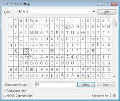 how to insert special characters with windows 7 character map