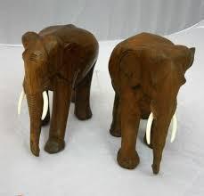Thailand Home Decor Hand Carved Teak Wood Thai Elephant Home Decor Animal Antique