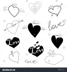 set hearts sketches blackand white signs stock vector 357256391