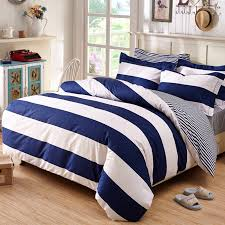 Cotton Queen Comforter Deep Blue And White Boys Rugby Stripe Print Simply Chic