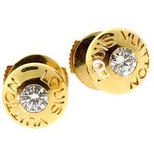 gold stud earrings for women louis vuitton diamond gold stud earrings at 1stdibs