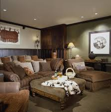 european theme home theater rustic with wood panel wall