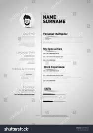 minimalist cv resume template simple design stock vector 309789893