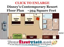 Contemporary Floor Plan Photo Tour Of A Tower Room At Disney U0027s Contemporary Resort