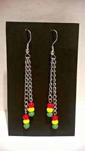 reggae earrings silver summer teardrop earrings rastafarian earrings